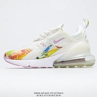 "NIKE Wmns Air Max 270 ""flower/blue/White"" half palm high elastic air cushion leisure sports wild jogging shoes"