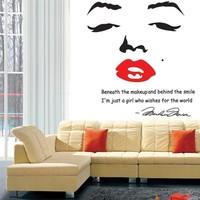 Home Decoration Portrait of Marilyn Monroe DIY Wall Sticke Wallpaper Stickers Art Decor Mural Room Decal Adesivo De Parede H11582 Home & Outdoor [7860394119]