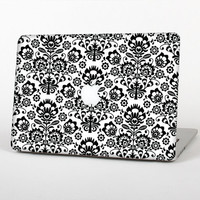The Black Floral Delicate Pattern Skin for the Apple MacBook Air - Pro or Pro with Retina Display (Choose Version)