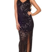Womens Formal Sequin Front Slit Open Back V Neck Sleeveless Party Maxi Dress