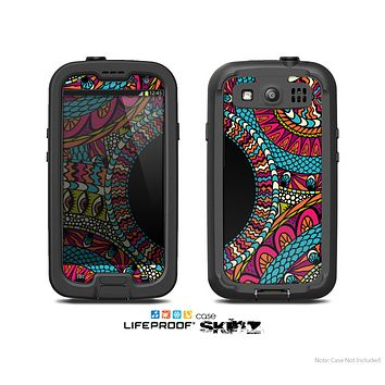 The Vector Colored Aztec Pattern WIth Black Connect Point Skin For The Samsung Galaxy S3 LifeProof Case