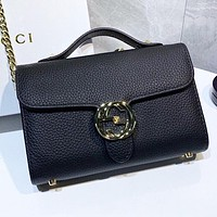 GUCCI New fashion leather chain shoulder bag crossbody bag handbag Black