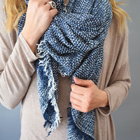 Creek Side Blanket Scarf Navy