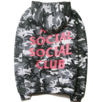 Anti social social club autumn and winter classic camouflage pink printed hood hooded sweater