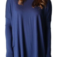 Authentic Piko Long Sleeve Top, Navy
