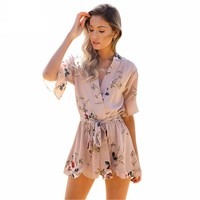Red Floral Print Ruffles Jumpsuits