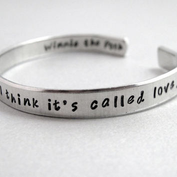 Winnie the Pooh - Some People Care Too Much - 2-Sided Hand Stamped Aluminum Cuff - customizable