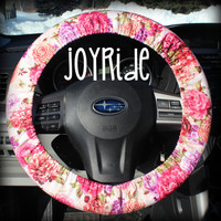 Steering Wheel Cover Beautiful Rose in Corals and Pinks Retro Throwback Car Accessories for Girls Anime Kawai