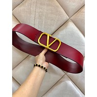 Valentino 2019 new women's metal letter buckle belt red