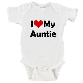 I Heart Love My Auntie / Uncle / Custom Name Gerber Onesuit ®