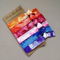 6 Tie Dyed Hair Ties - The Sally Collection by Elastic Hair Bandz on Etsy
