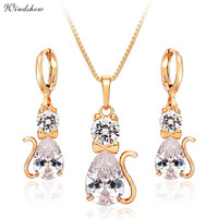 Yellow Gold Plated Kitty Cat Paved CZ Diamond Pendant Necklace Earrings Jewelry Sets for Women Children Kids Girls Gifts