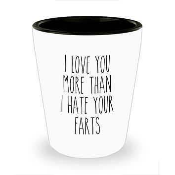 I love You More Than I Hate Your Farts Shot Glass Valentine's Day For Him Funny Anniversary Shot Glasses