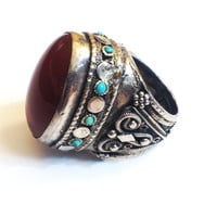 Vintage Sterling Silver and Carnelian Domed Ring, Middle Eastern or Central Asian, Statement Ring Size 6