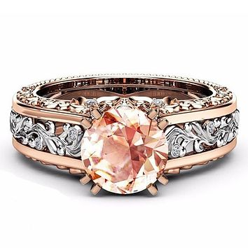 Luxury Flower Ring For Women With 10mm Round Cut Cubic Zirconia Romantic Wedding Engagement Rings Jewelry