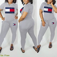 TOMMY HILFIGER Popular Women Casual Print Top Pants Trousers Set Two-Piece Sportswear Grey
