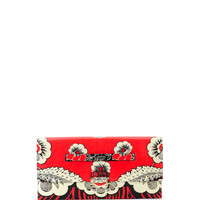 Floral-Print Covered Clutch Bag, Red Multi - Valentino