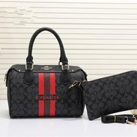 """Coach"" Women Fashion Multicolor Letter Logo Print Boston Handbag Single Shoulder Messenger Bag Set Two-Piece"