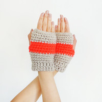 Women Gloves In Grey And  Neon Orange, Winter And Fall Wool Mittens, Fingerless Hand Warmers