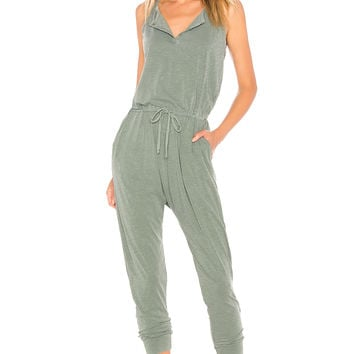 SUNDRY Henley Jumpsuit in Pigment Moss