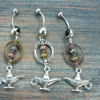 choose 1 genie in a bottle belly ring aladdin's lamp Copper beads in belly dancer fantasy gypsy hippie morrocan boho and hipster style