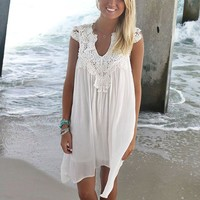 St. George's Caye Ivory Crochet Neck Sundress