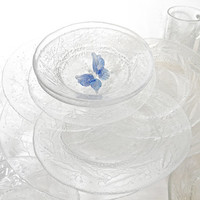 Vintage Arcoroc Clear Glass Plates Bowls Cups French Glass Complete Set of Dinnerware 16 Pieces French Country Home Decor Traditional Home
