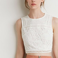Mesh-Paneled Lace Crop Top