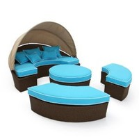 Rendezvous All-Weather Wicker Reversible Cushion Sectional Daybed Color - Brown