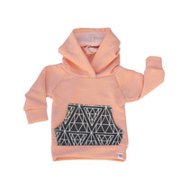 peach diamond print, newborn baby hoodie, peach and grey, baby jogger outfit, baby girl sweatshirt, modern baby clothing