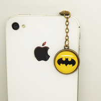 1PC Retro Epoxy Transparent Gems Batman Cell Phone Earphone Jack Anti dust Plug Charm for iPhone 4s,4g,5,5s,5c Samsung S4, HTC