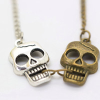 Skull necklace, double skull charm necklace,retro style, unique gift.