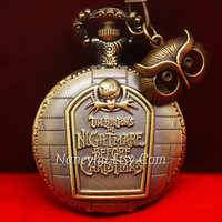 The Nightmare Before Christmas Jack Skellington Pocket Watch Necklace, with Antique Bronze Owl Pandent Charms