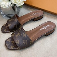 LV Louis Vuitton hot sale color printed letters ladies sandals slippers Shoes Coffee