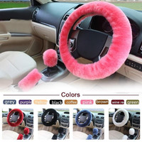 3pcs/1set Wool Plush Warm Steering-Wheel Cover Car Fur Car Steering Wheel Cover Sets Spring Fur Handle Sleeves Winter Supplies