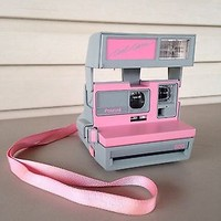 Vintage Polaroid 600 Cool Cam Instant Film Camera Pink And Gray w/ Strap *WORKS*