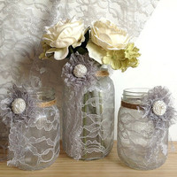 grey lace covered jar vase and candle holders, perfect for wedding decor, bridal shower decor or home decoration