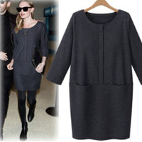 Black Long-Sleeve Loose Knitted Dress