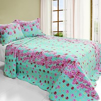 [Flora River] 3PC Cotton Vermicelli-Quilted Printed Quilt Set (Full/Queen Size)
