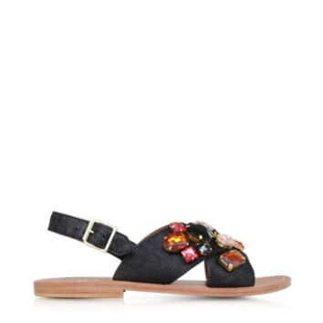 Marni Designer Shoes Carbon Haircalf Sandal w/Embroidered Beads