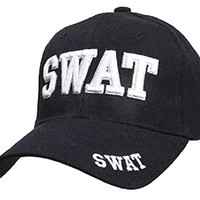 SWAT - Law Enforcement - Baseball Cap / Hat Adjustable BLACK with 3D Embroidery