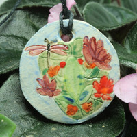 Essential Oil diffuser Aromatherapy pendant Red Eye Tree Frog stoneware pendant AT3