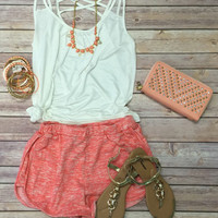 Lazy Day Terry Shorts: Coral