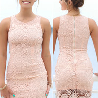 Playing With Fire Peach Sleeveless Crochet Dress