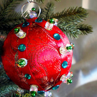 Christmas Ornament, Red Ball with Green & Gold Accents in Gift Box, Handmade Fabric Tree Decoration, Holiday Decor, Wrapped Boxed Present
