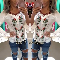 Boho Bell Sleeve Embroidered Top
