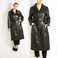 Vintage 80's 90's Dark Brown Real Leather Belted Mid Length Trench Coat -Medium to Large