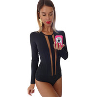 Gagaopt 2016 Bodysuits Women Sexy Long Sleeve Patchwork Novelty Design Rompers Sheath Playsuit Bodycon Harajuku Club Jumpsuits