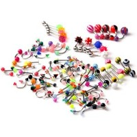 Lot of 105 Assorted 21 Styles Tongue Lip Navel Belly Eyebrow Rings Bars Barbell Body Jewelry Piercing Kit