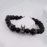 Batman Dark Knight gift Christmas Amader Brand Charm Men's Bracelets Batman Micro Inlay Cubic Zirconia Leopard Head Beads Super Hero/ Skull Beads Cool Bracelet AT_71_6